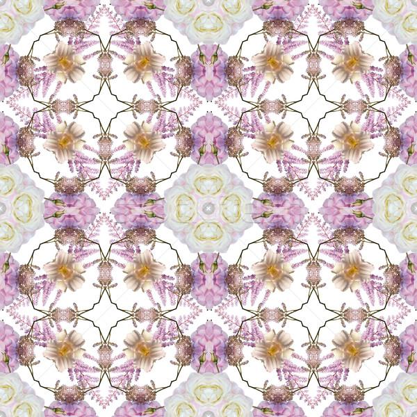 Abstract floral kaleidoscope seamless pattern Stock photo © lapesnape