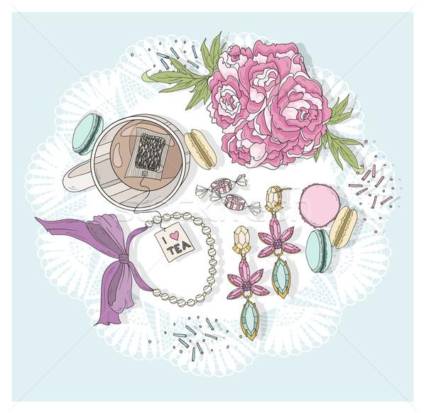 Bonitinho copo chá flores jóias amor Foto stock © lapesnape