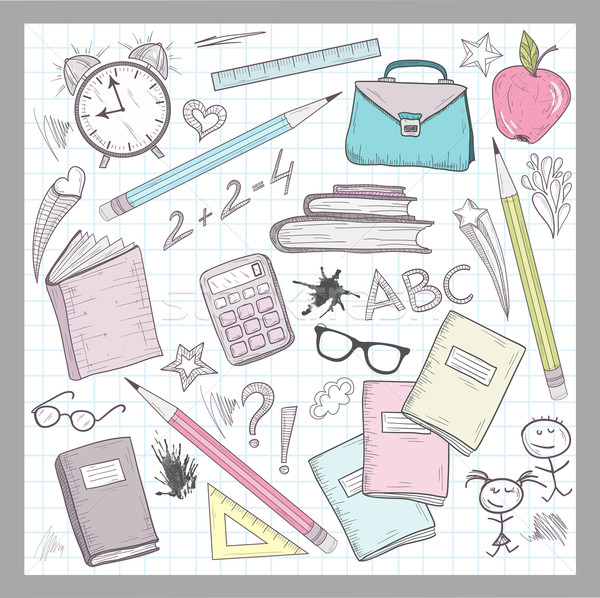 School supplies elements on lined sketchbook paper background Stock photo © lapesnape