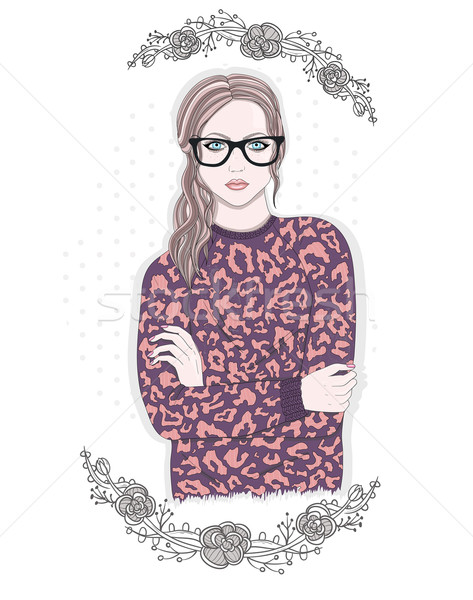 Young fashion girl illustration. Hipster girl with glasses and f Stock photo © lapesnape