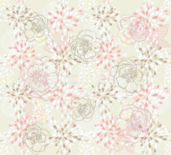 Seamless cute floral pattern. Background with spring, summer flowers Stock photo © lapesnape