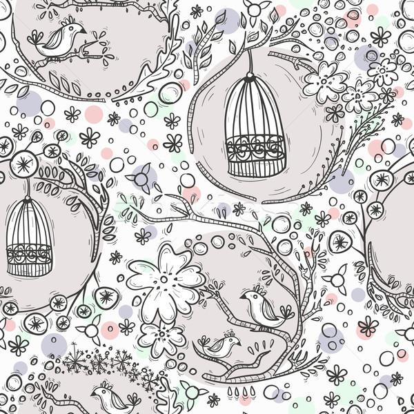 Fleurs oiseaux maison fille texture Photo stock © lapesnape