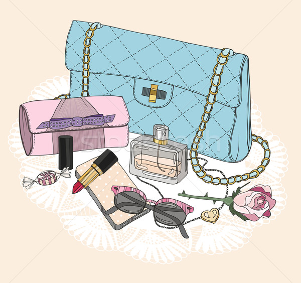 Fashion essentials. Background with bag, sunglasses, shoes Stock photo © lapesnape