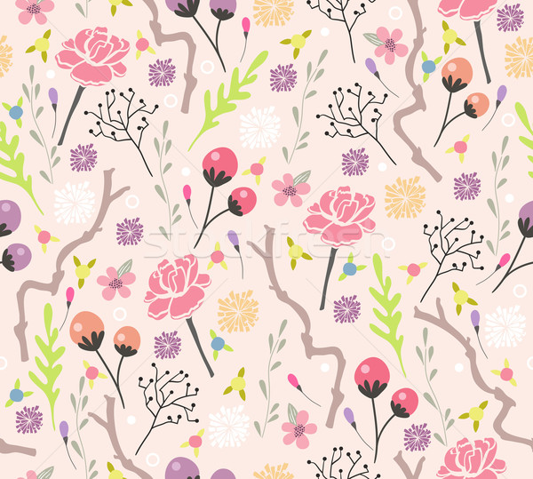 Seamless floral pattern. Background with flowers and leafs. Stock photo © lapesnape