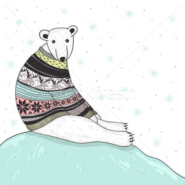 Karácsonyi üdvözlet aranyos jegesmedve medve vásár stílus Stock fotó © lapesnape