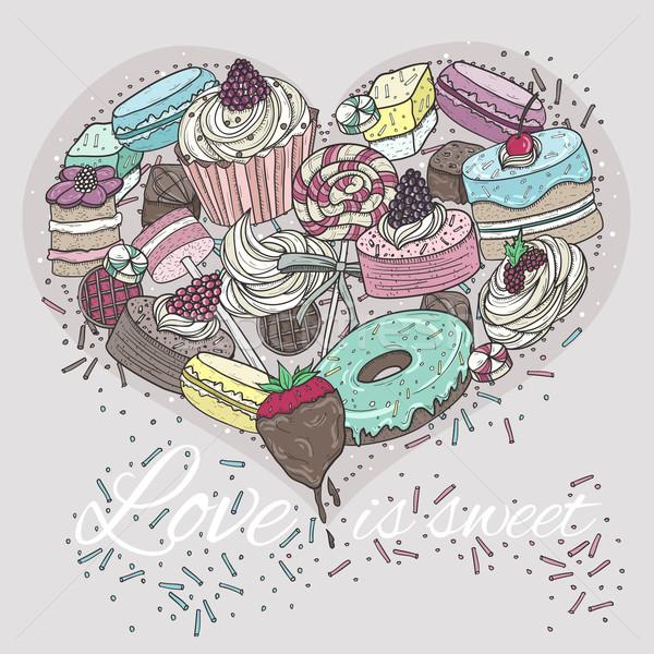 Stok fotoğraf: Sevimli · kalp · şekerleme · sevgililer · günü · kart · dizayn