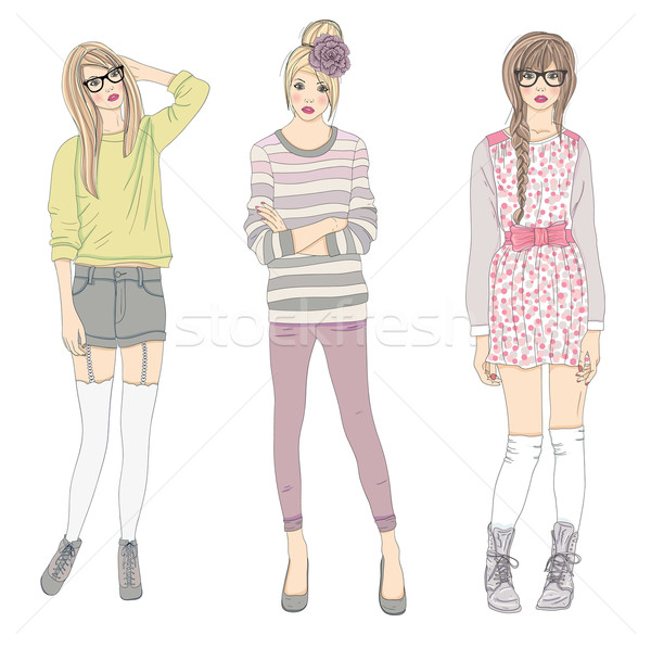 Young fashion girls illustration. Vector illustration. Stock photo © lapesnape