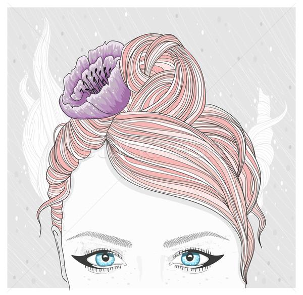 Jovem flor cabelo moda ilustração menina Foto stock © lapesnape