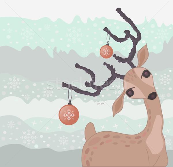 Christmas reindeer card Stock photo © lapesnape
