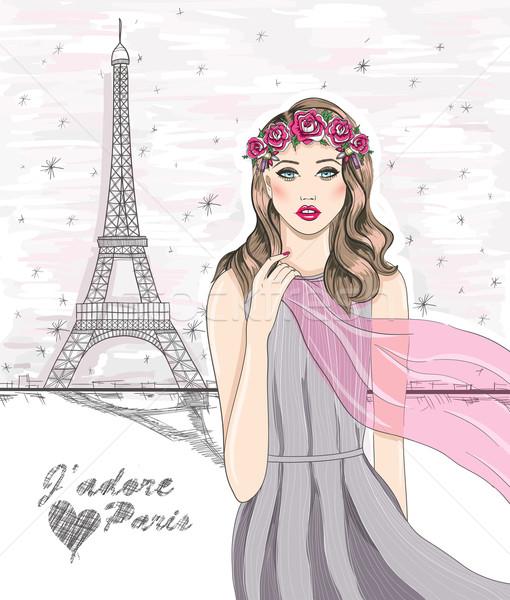 Lány Eiffel-torony kézzel rajzolt Párizs képeslap égbolt Stock fotó © lapesnape