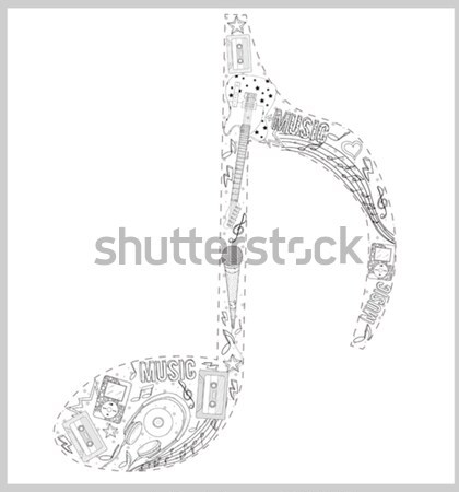 Note from hand drawn music elements. Stock photo © lapesnape