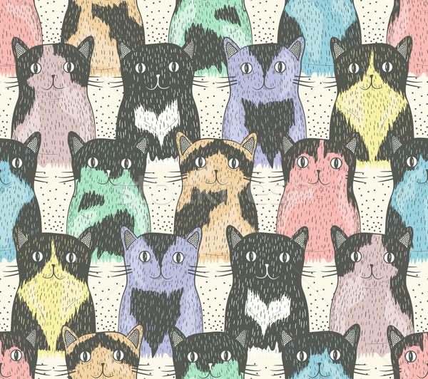 Bonitinho gatos crianças gato tecido Foto stock © lapesnape