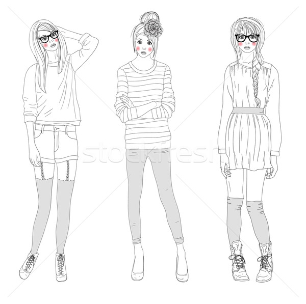 Młodych piękna dziewcząt moda ilustracja teen Zdjęcia stock © lapesnape