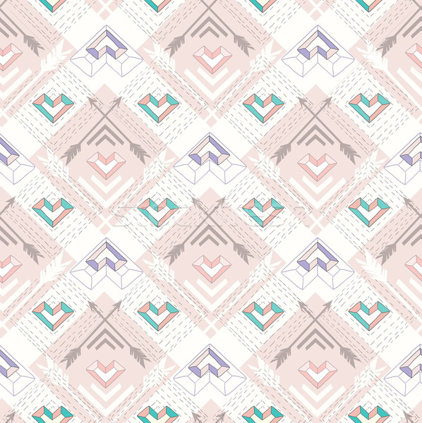 Abstract geometric seamless pattern. Aztec style pattern  Stock photo © lapesnape