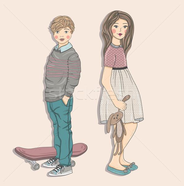 Cute kids illustration. Stock photo © lapesnape
