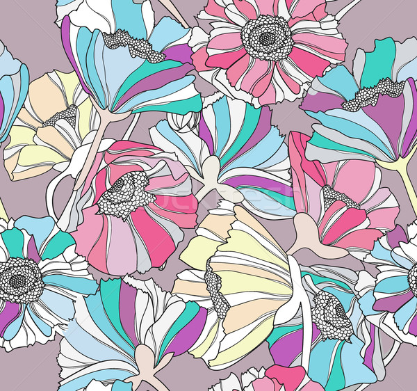 Seamless pattern with flowers. Colorful floral background. Stock photo © lapesnape
