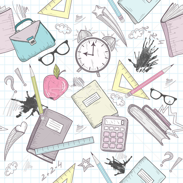 Cute school abstract pattern. Seamless pattern with alarm clock, Stock photo © lapesnape