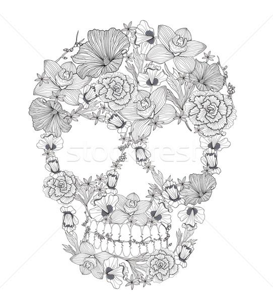 Crâne fleurs fleur texture rose art Photo stock © lapesnape