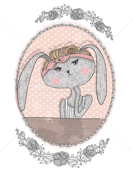 Cute bunny illustration for children. Hipster rabbit. Flower fra Stock photo © lapesnape