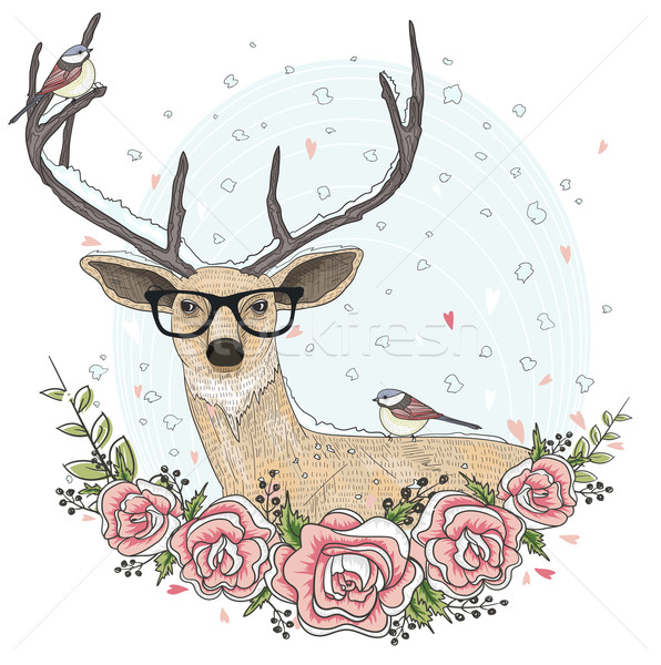Cute hipster deer with glasses, flowers, and bird. Stock photo © lapesnape