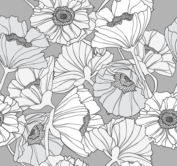 Stock photo: Seamless floral pattern. Background with poppy flowers.