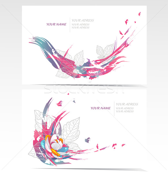 Vector business cards set with flower elements. Floral backgrounds. Stock photo © lapesnape
