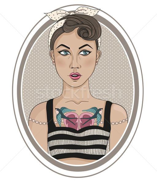 Cute rockabilly stylu moda dziewczyna kobieta Zdjęcia stock © lapesnape
