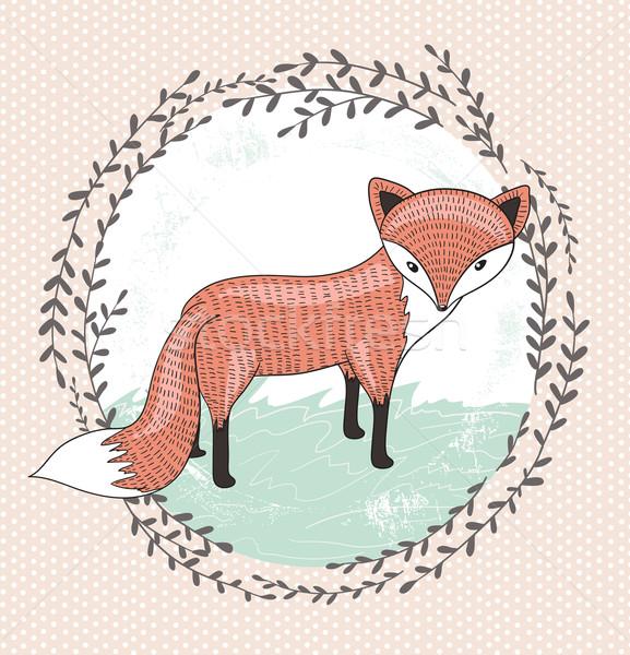 Cute little fox illustration for children. Stock photo © lapesnape