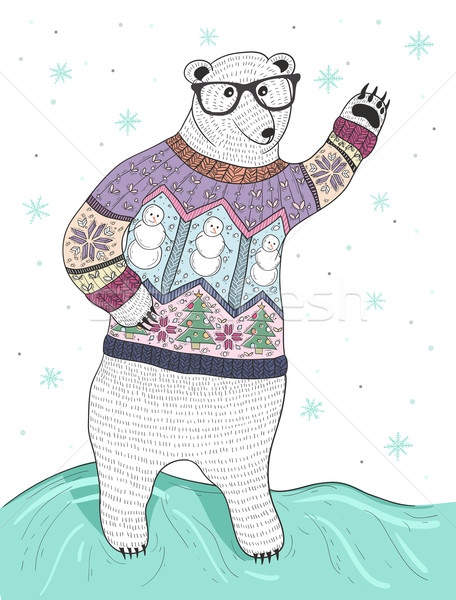 Cute hipster polar bear with glasses and christmas sweater Stock photo © lapesnape