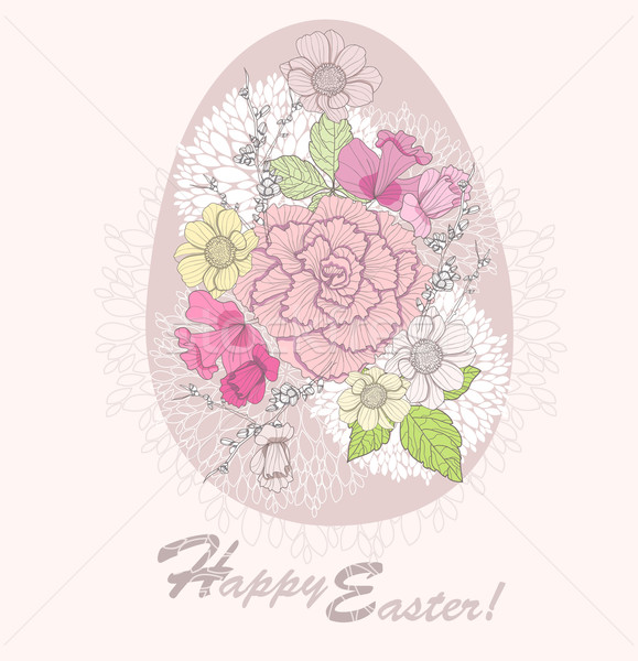 Easter egg. Easter card with floral pattern. Stock photo © lapesnape