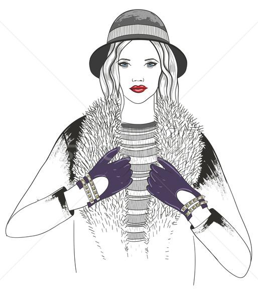 Młoda dziewczyna moda ilustracja twarz projektu zimą Zdjęcia stock © lapesnape