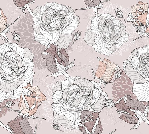 Kwiatowy wzór kwiaty ptaków elegancki Zdjęcia stock © lapesnape