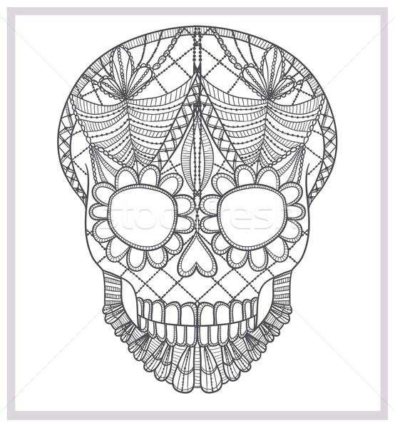 Abstrato crânio renda ornamento projeto folha Foto stock © lapesnape