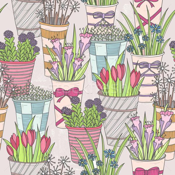 Aranyos végtelenített virágmintás minta virágok tavasz Stock fotó © lapesnape