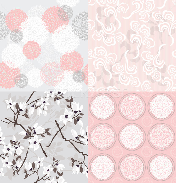Set of seamless floral patterns with spring or summer flowers  Stock photo © lapesnape
