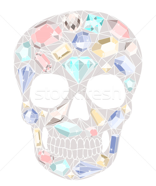 Stock photo: Skull with gemstones pattern