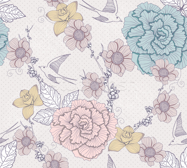 Seamless floral pattern. Seamless pattern with flowers and birds Stock photo © lapesnape