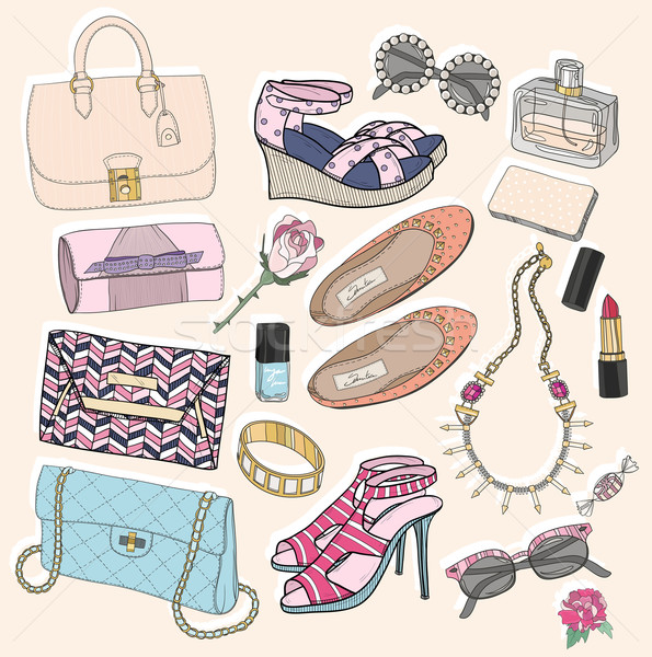 Fashion accessories set. Background with bags, sunglasses, shoes Stock photo © lapesnape