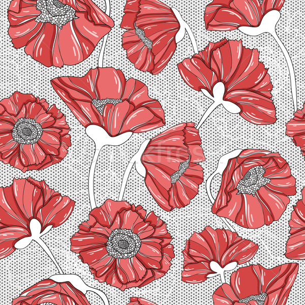 seamless floral poppy pattern Stock photo © lapesnape
