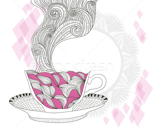 coffee and tea mug with abstract doodle pattern. Cup background. Stock photo © lapesnape