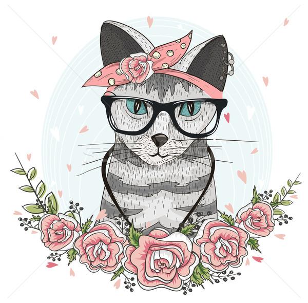 Aranyos hipszter macska szemüveg sál virágok Stock fotó © lapesnape