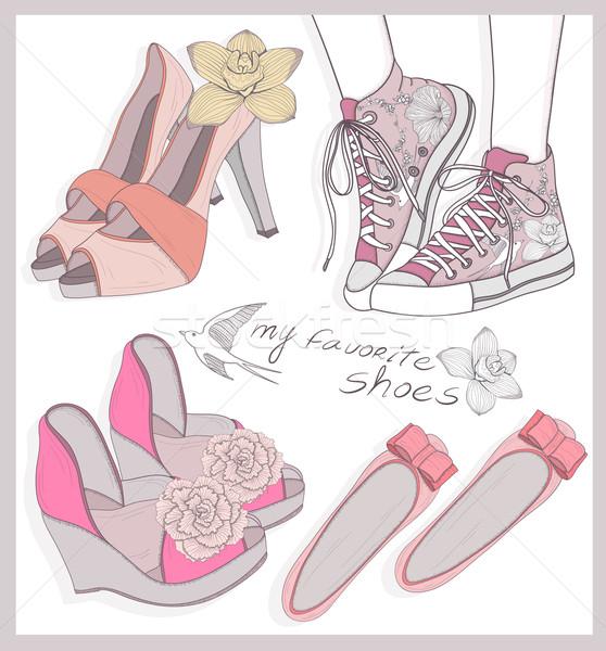 Moda buty zestaw kobiet sportu tle Zdjęcia stock © lapesnape