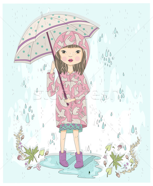 Cute little girl holding umbrella. Autumn background with rain,  Stock photo © lapesnape