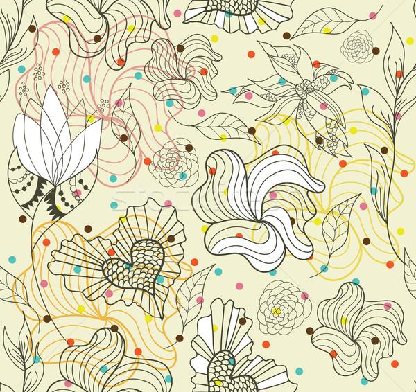 Streszczenie bezszwowy gryzmolić kwiaty serca wzór Zdjęcia stock © lapesnape