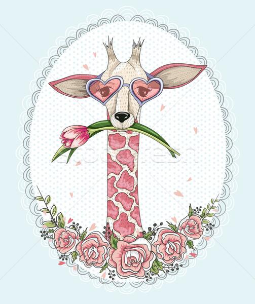 Bonitinho girafa floral quadro flor Foto stock © lapesnape