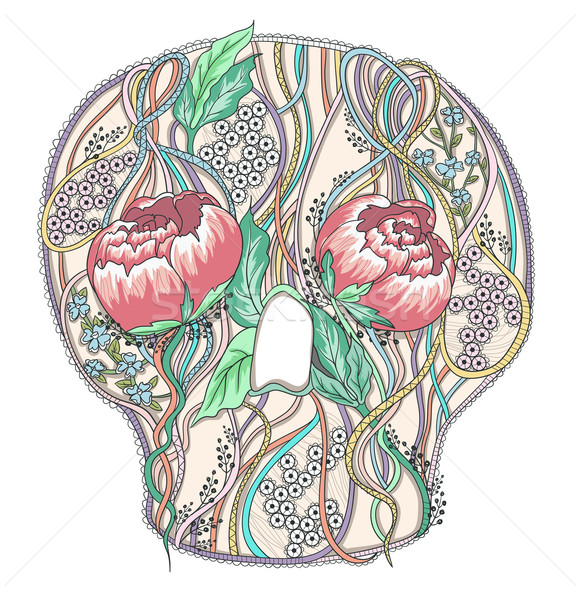 Abstract skull with peony flowers. Floral skull. Stock photo © lapesnape