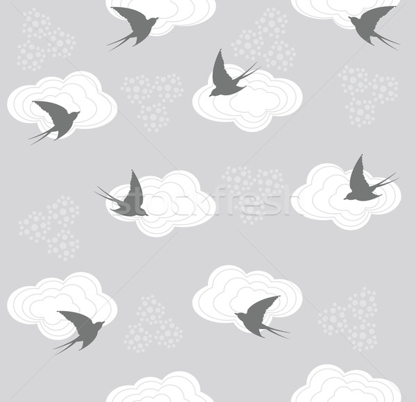 Cute seamless swallow and cloud pattern Stock photo © lapesnape