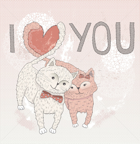 Valentine's day card. Cute cats in love. Cats with heart Stock photo © lapesnape