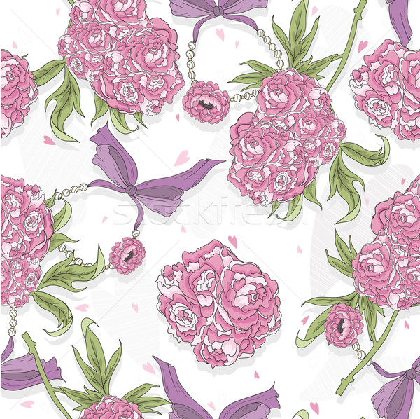 Seamless pattern with rose flowers, hearts and jewelry. Floral b Stock photo © lapesnape