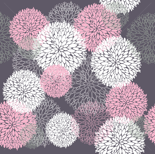 Stock photo: Vector flower pattern. Seamless cute spring, summer floral background